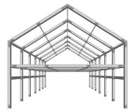 Steel frame building project scheme isolated on white  Stock Photo