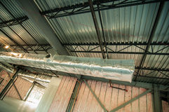 Steel frame construction project unfinished. Exposed interior structure of unfinished construction project royalty free stock images