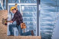 Steel Frame Construction Worker stock image