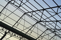Steel frame of the factory roof Stock Photo
