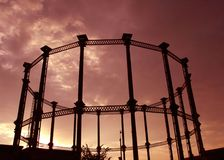 A steel frame of a Gas tower. In London Royalty Free Stock Images