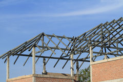 Steel frame of house roof Royalty Free Stock Photography