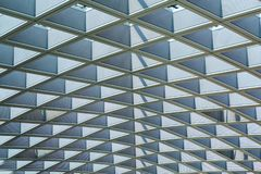 Steel frame roof structure architecture details pattern in a modern building