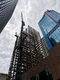 Steel Frame Skyscraper Construction, Sydney, Australia. A new modern steel frame skyscraper under construction in Sydney City, NSW, Australia, with tower cranes Royalty Free Stock Photos