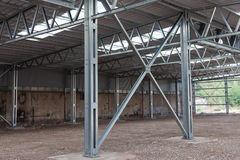 Steel frame structure. Cross bracing of steel structure Royalty Free Stock Photo