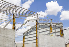 Steel frame structure. Building construction site Royalty Free Stock Photo