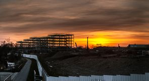 Steel frame structure on the river Clyde royalty free stock photography
