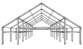 Steel frame wide building project scheme isolated on white  Stock Photo