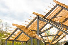 Steel frame with wooden beams construction. Steel frame with wooden beams construction Stock Photography