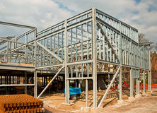 Steel framed building. The skeleton frame of a Steel framed building showing the vertical steel columns and horizontal I beams on a new Commercial property royalty free stock photos