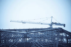 Steel frames construction with crane Royalty Free Stock Photography