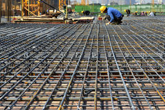 Steel framework in construction site,In the construction of large buildings. Steel framework build labourer construction worker In the construction of modern stock photography