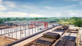 Steel framework structure of new building royalty free stock photography