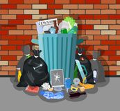 Steel garbage bin full of trash. Overflowing garbage, food, rotten fruit, papers,containers and glass. Garbage recycling and utilization equipment. Vector Royalty Free Stock Photos
