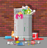 Garbage bin full of trash. Overflowing container Stock Photos