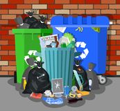 Steel garbage bin full of trash. Overflowing garbage, food, rotten fruit, papers,containers and glass. Garbage recycling and utilization equipment. Vector Royalty Free Stock Image