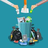 Steel garbage bin full of trash. Overflowing garbage, food, rotten fruit, papers, plastic containers and gloves, paint and glass. Vector illustration in flat Royalty Free Stock Photography