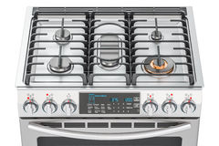 Steel gas cooker with oven top view closeup, 3D rendering Royalty Free Stock Photo