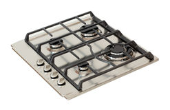 Steel gas hob. Stainless steel gas hob isolated on white stock images