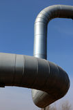 Steel gas pipe line under  blue sky Royalty Free Stock Images