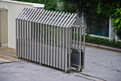 Steel Gate technology Retractable Fence Building Parking area Building Outdoor Stock Image