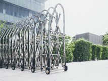 Steel Gate technology Retractable Fence Building Parking area Stock Photos