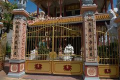 Temple at the Can tho -  Vietnam. Steel gate before the temple in Can tho city Vietnam Royalty Free Stock Photos