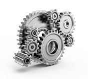 Steel gear wheels. Tools and settings icon stock illustration