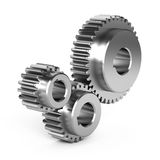 Steel gear wheels. On white background Royalty Free Stock Photography