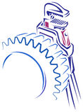 Steel gear and wrench tool. Line art image of steel gear and wrench tool Stock Image