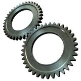 Steel gears. The pair of the associated steel gears vector illustration