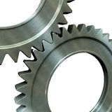 Steel gears. The pair of the associated steel gears stock illustration