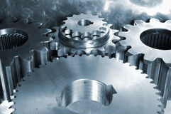 Steel gears against titanium Royalty Free Stock Photos