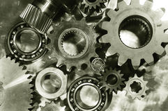 Steel gears in bronze toning Royalty Free Stock Images