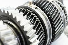 Steel gears and rolling bearing. Royalty Free Stock Images