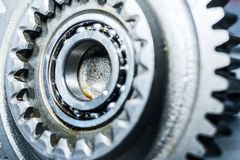 Steel gears and rolling bearing. Stock Photos