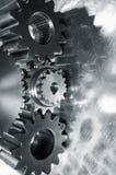 Steel gears in silver toning Stock Photo