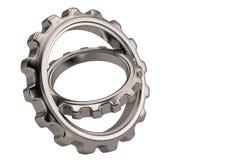 Steel gears on white background. 3D illustration. Steel gears on white background. 3D illustration royalty free illustration