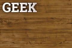 Steel geek logo on wood board 3D illustration. Steel geek logo on wood board 3D illustration vector illustration