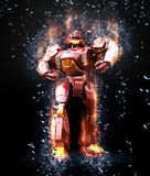Steel giant. Giant robot in splinters and fire Royalty Free Stock Photos