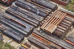 Steel girder beams. Stored on a site Royalty Free Stock Photo
