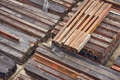 Steel girder beams. Stored on a site Stock Images