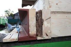 Steel girder detail on prefabricated house Stock Photos