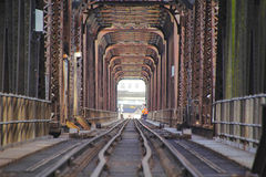 Steel and Girder Train Bridge Stock Image