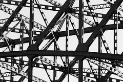 Steel girders. Of a suspension bridge in B&W Stock Photos