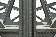 Steel Girders on a Metal Truss Bridge Stock Images