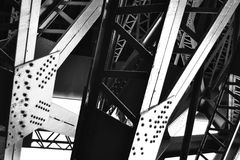 Steel Girders. The steel undercarriage and metal girders holding up a giant bridge Royalty Free Stock Photos