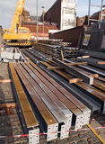 Steel girders waiting errection. Steel girders on the ground at a construction site waiting errection Stock Photography