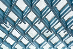 Steel and glass ceiling pattern royalty free stock photography