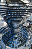 Steel, glass and mirrored cone - architectural details of Reichstag dome. BERLIN - MARCH 16: Architectural details of Reichstag cupola on March 16, 2013 in stock photography